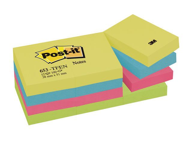 Post-it® Notitieblok Energetic38x51mm ass/p12x100