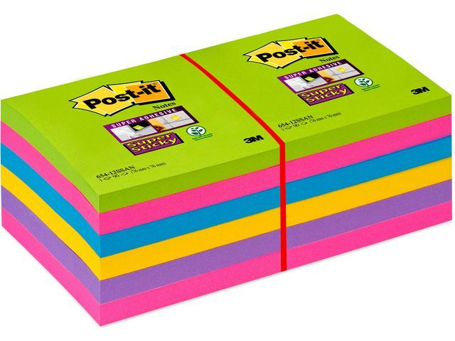 Post-it® Notitieblok Super St.76x76 ultra/pk12x90
