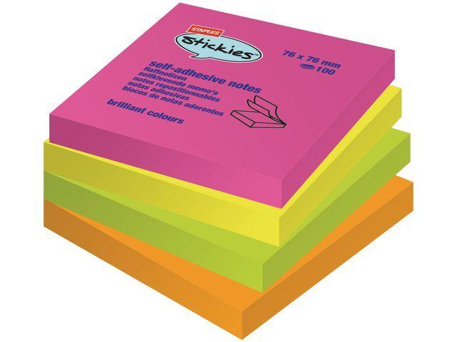 Staples Notitieblok SPLS 76x76mm rainbow/pak 12