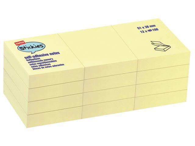 Staples Notitieblok SPLS 38x51mm geel/pak 12