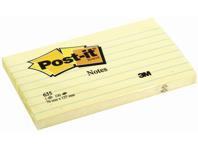 Post-it® Notitieblok Post-It 76x 127 lijn gl/pk12
