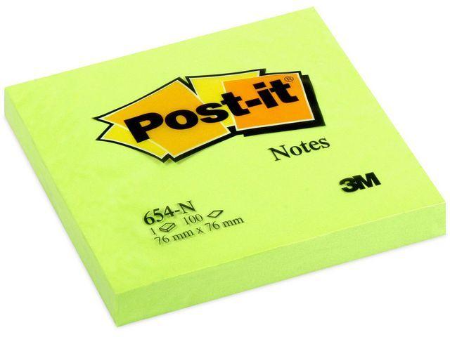 Post-it® Notitieblok Post-It 76x 76mm neon gr/pk6