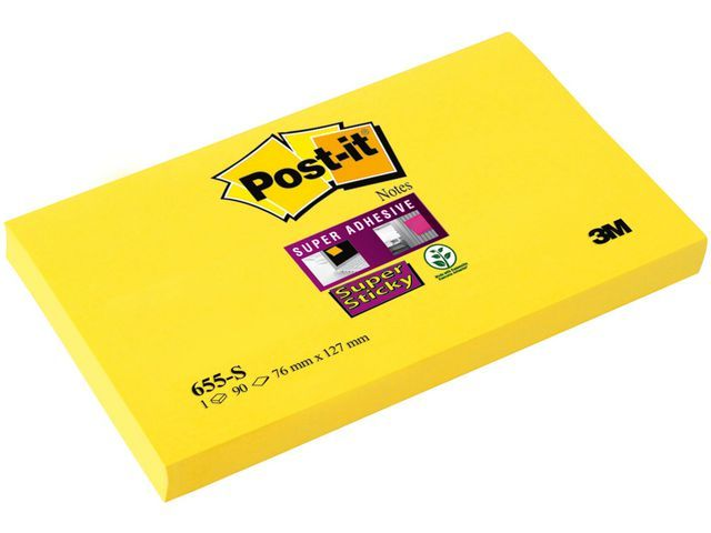 Post-it® Notitieblok Super Sticky 76x127 gl/pk12