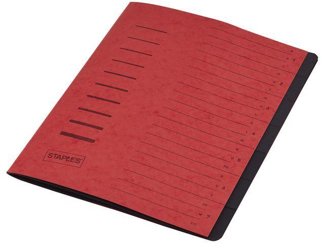 Staples Sorteermap elasto SPLS A4 7 vakken rood