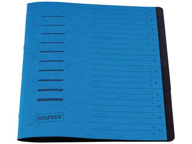 Staples Sorteermap elasto SPLS A4 12vakken blauw