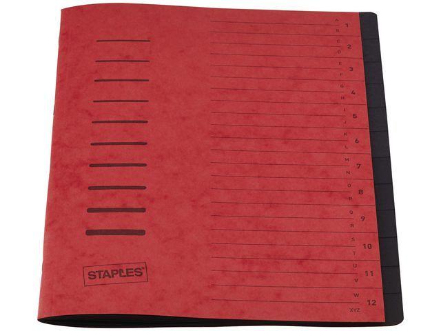 Staples Sorteermap elasto SPLS A4 12 vakken rood