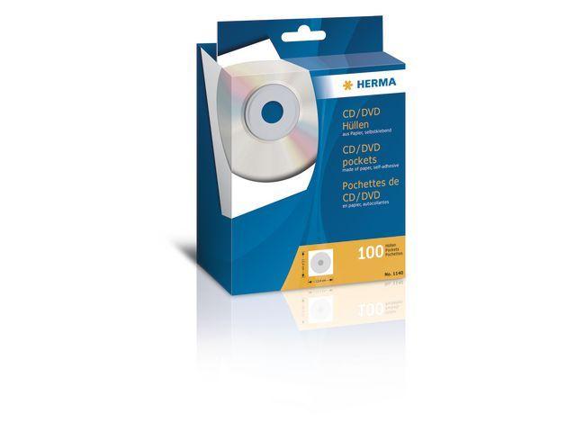 Herma CD hoes papier zelfkl.m.venster/pak 100