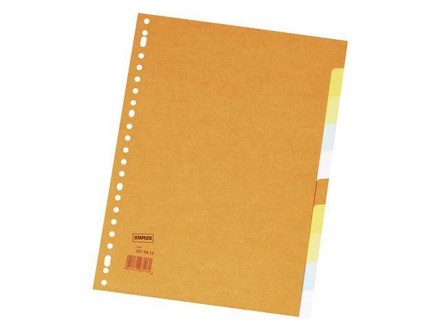 Staples Tabblad SPLS A4 23R 2x5kleur karton/se10