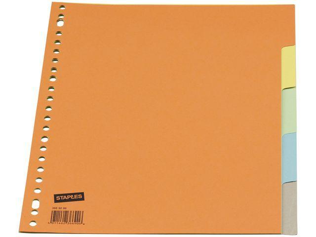 Staples Tabblad SPLS A4 23R karton kleur/set 5