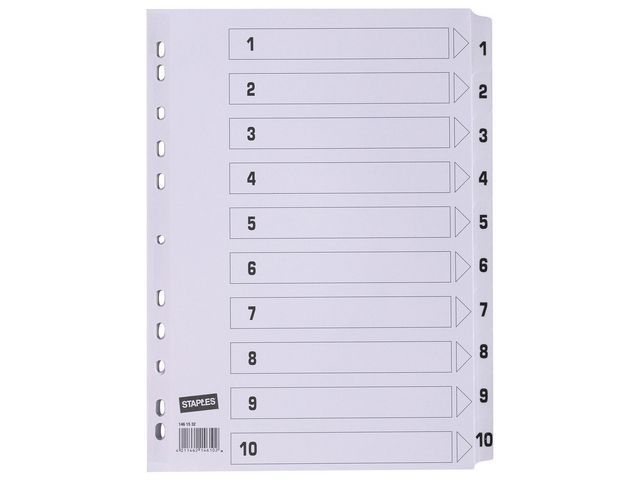 Staples Tabblad SPLS A4 11R karton 1-10 wit/se10
