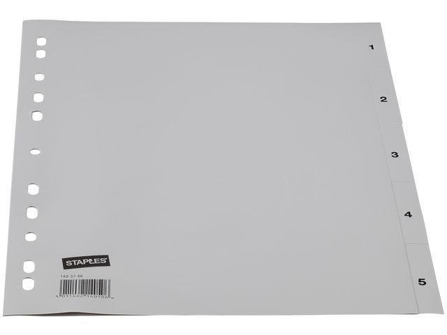 Staples Tabblad SPLS A4 11R PP 1-5 grijs/set 5