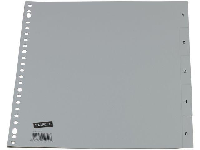 Staples Tabblad SPLS A4 23R PP 1-5 grijs/set5