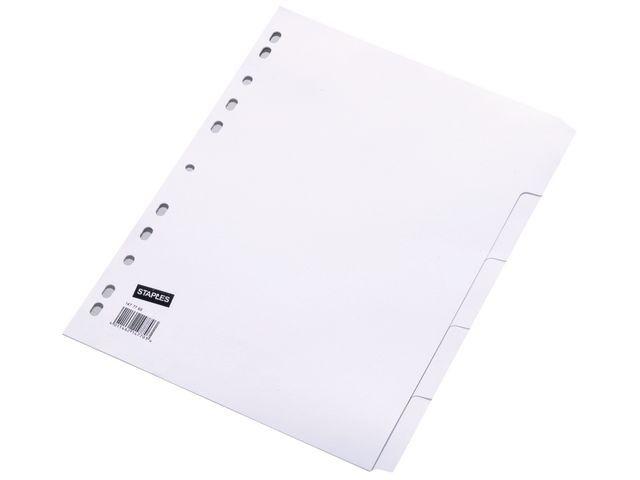 Staples Tabblad SPLS A4 11R karton wit/set 5