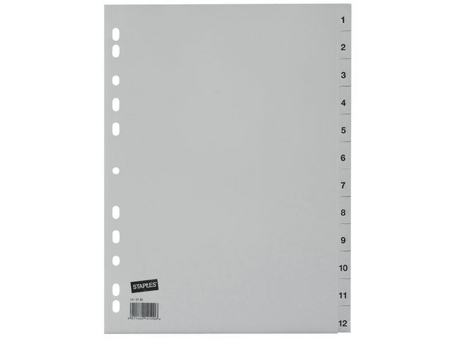 Staples Tabblad SPLS A4 11R PP 1-12 grijs/set 12