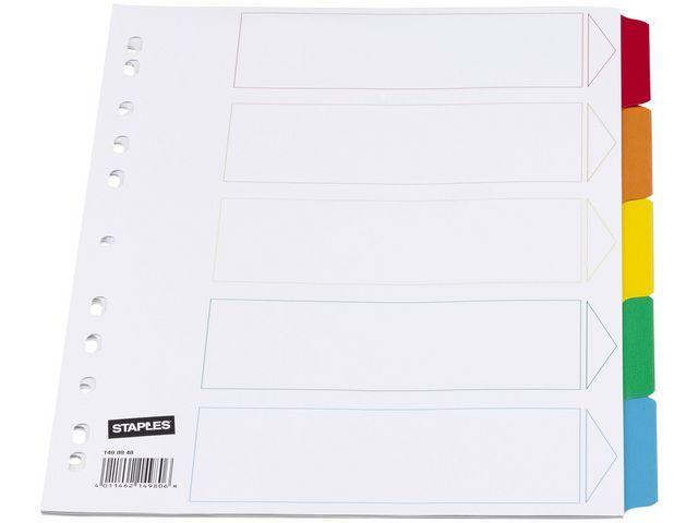 Staples Tabblad SPLS A4 11R kart.kleurentab/set5