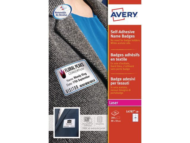 Avery Naambadge Avery 50x80mm kader bl/pk200