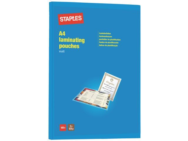 Staples Lamineerhoes SPLS A4 2x125 mic mat/pk100
