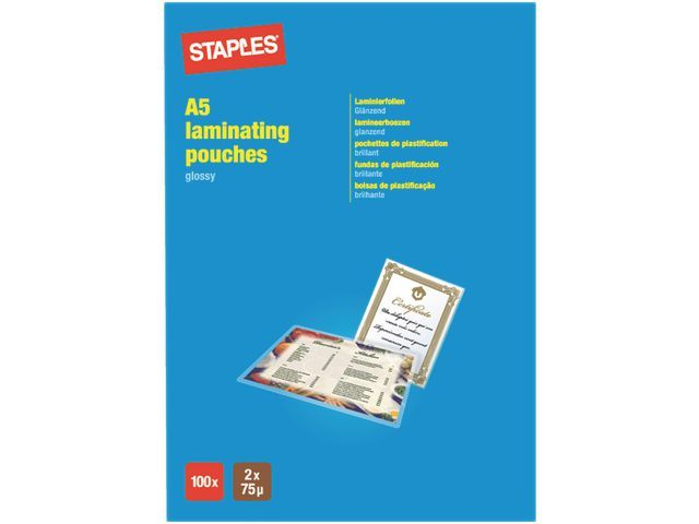 Staples Lamineerhoes SPLS 154x216 2x75micr/pk100