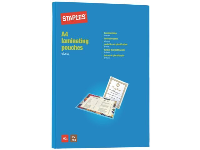 Staples Lamineerhoes SPLS 216x303 2x75micr/pk100
