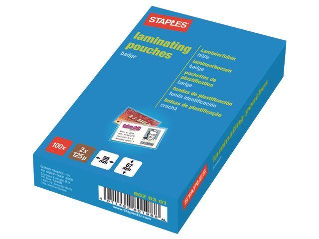 Staples Lamineerhoes SPLS 67x99 2x125micr/pk100