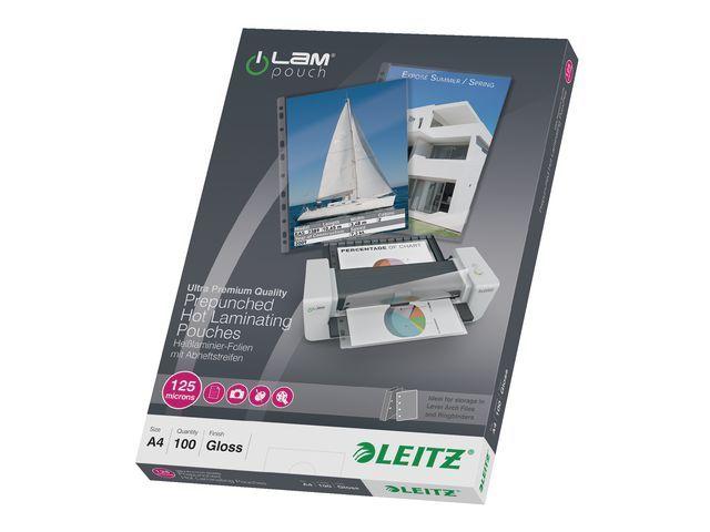 Leitz Lamineerhoes Leitz A4 perf. 125m/pak 100