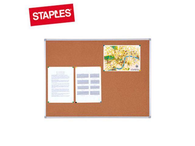 Staples Prikbord SPLS 90x60 kurk naturel