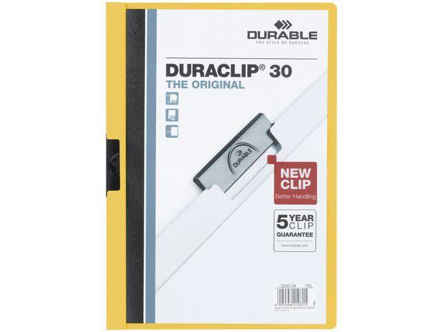 Durable Klemmap Duraclip A4 3mm geel/doos 25