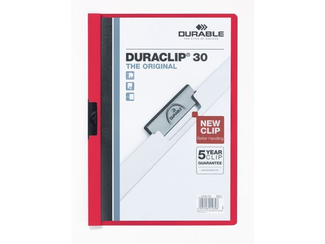 Durable Klemmap Duraclip A4 3mm rood/doos 25