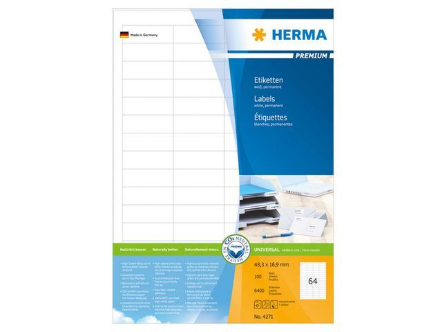 Herma Etiket ILC 48x17 prem wit/pak 6400