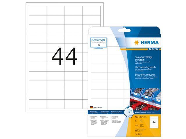 Herma Etiket LC 48x25 folie wit/pak 1100