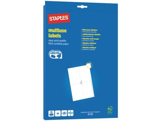 Staples Etiket SPLS ILC 105x148 wit/pk 100
