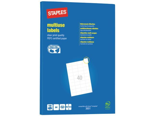 Staples Etiket SPLS ILC 53x30 wit/ds 4000