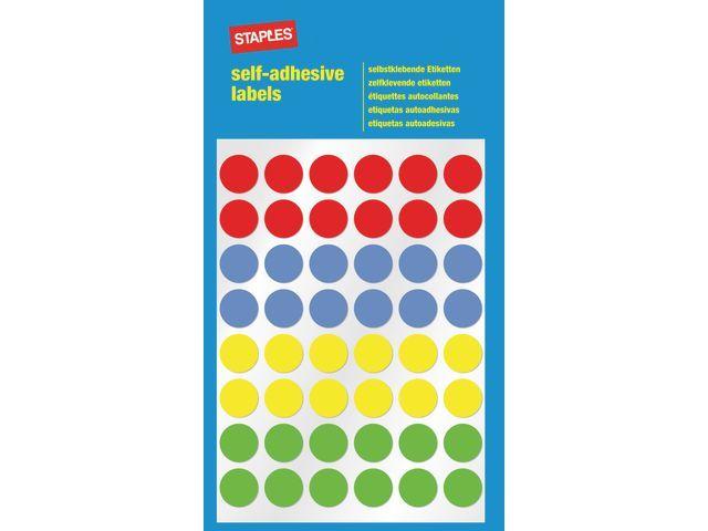 Staples Etiket SPLS 12mm 4 kleuren assorti/pk288