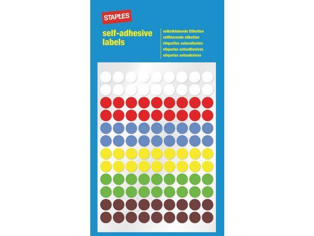 Staples Etiket SPLS 8mm 6 kleuren assorti/pk648
