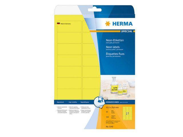 Herma Etiket ILC 64x30 neon-geel/pak 540
