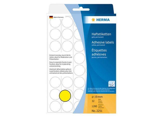 Herma Etiket Herma 19mm rond geel/pak 1280
