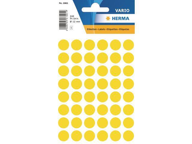 Herma Etiket Herma 12mm rond geel/pk 240