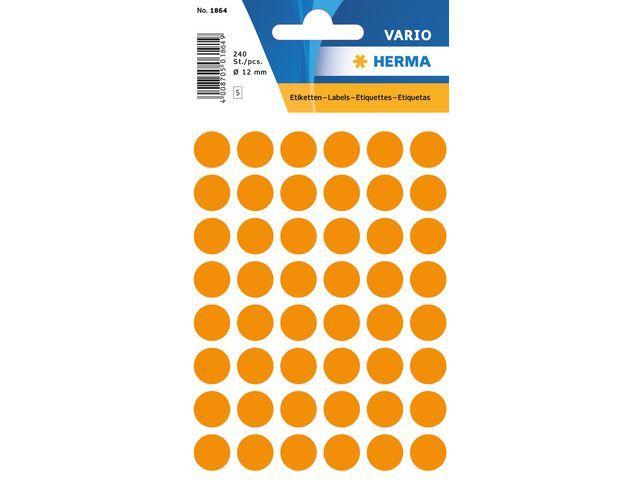 Herma Etiket Herma 12mm rond oranje/pk 240