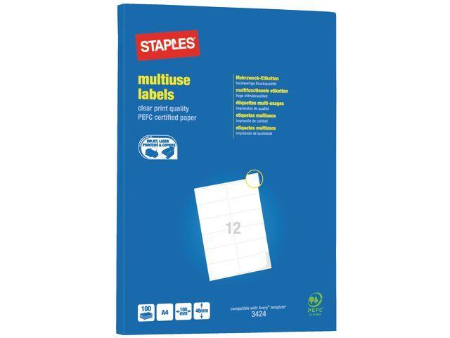 Staples Etiket SPLS ILC 105x48 wit/ds 1200