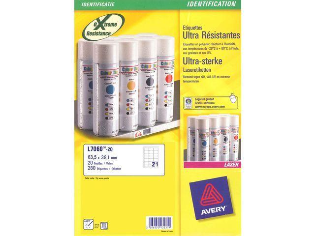 Avery Etiket Avery L 64x38 ultrasterk wt/pk420