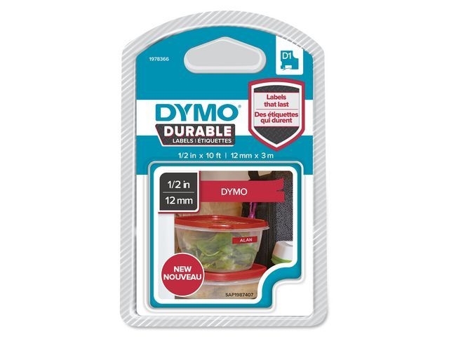 Dymo Tape Dymo D1 12mmx3m Wit/Rood