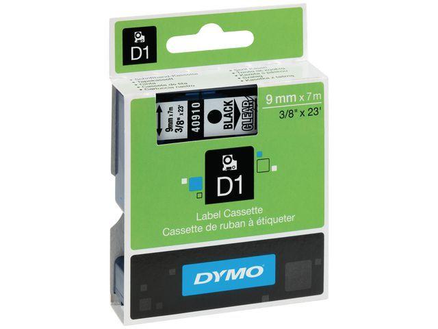 Dymo Tape Dymo 40910 9mm zwart/transparant