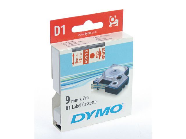 Dymo Tape Dymo 40915 9mm rood/wit