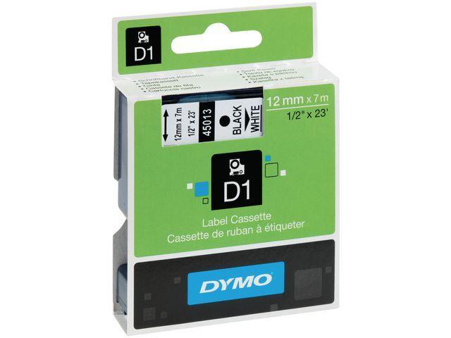Dymo Tape Dymo D1 12mm 7m zwart/wit polyester