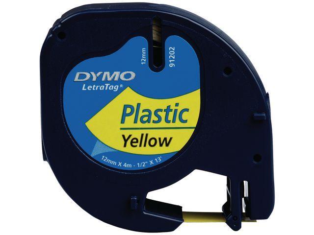 Dymo Tape Dymo Letra Tag 91202 12mm zwart/gl