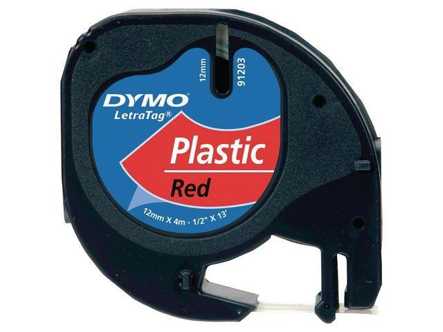 Dymo Tape Dymo Letra Tag 91203 12mm zwart/rd