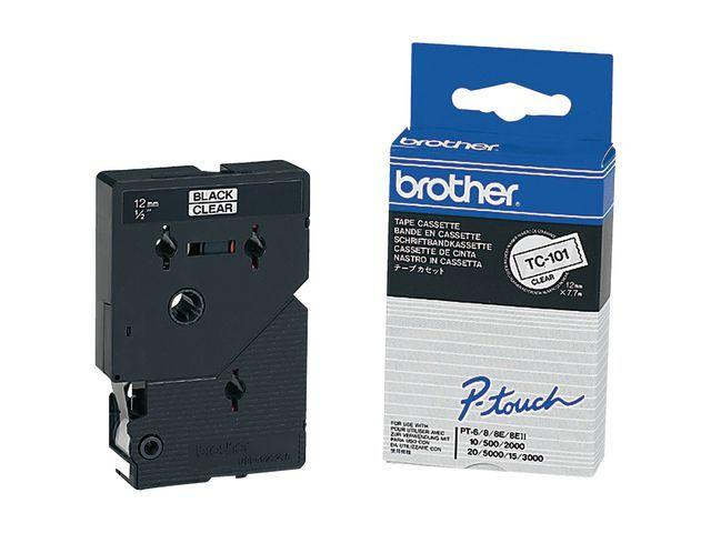 P-Touch Tape P-Touch TC-101 12mm zwart op trans