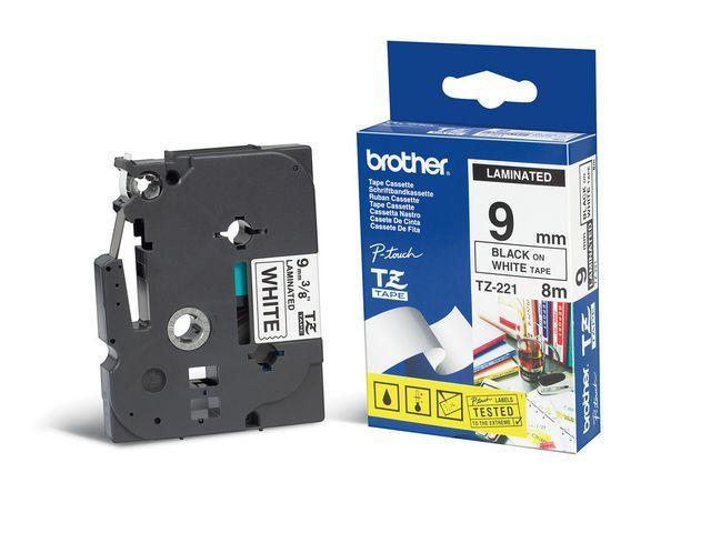 P-Touch Tape P-Touch TZ-221 9mm zwart op wit