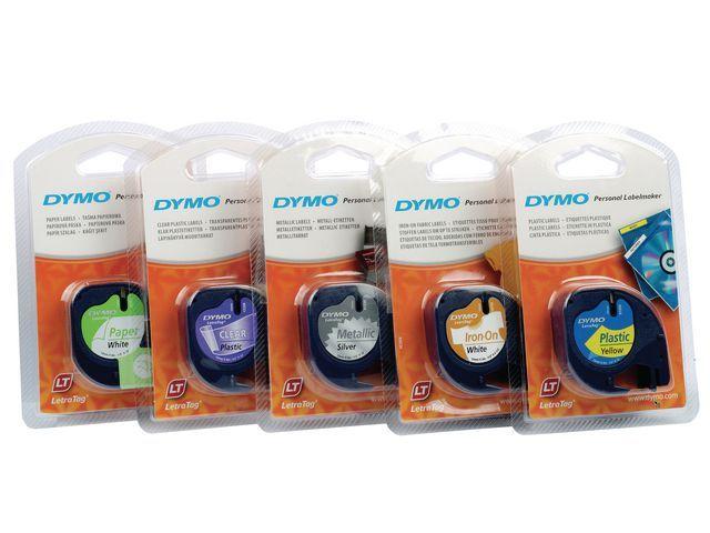 Dymo Tape Dymo Letra Tag 12 mm zwart/transp.
