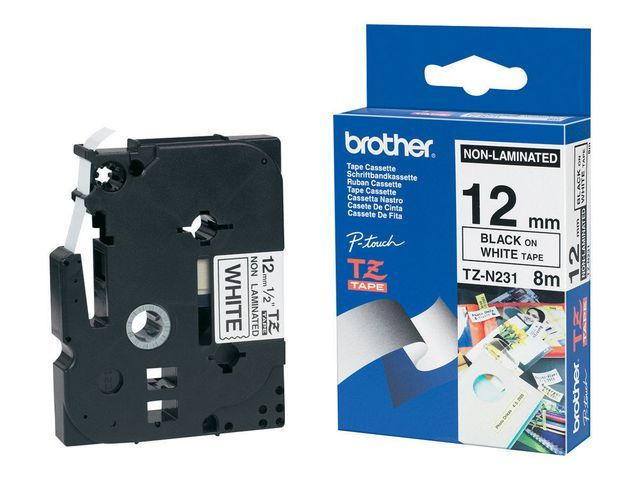 P-Touch Tape P-Touch TZ-N231 12mm zwart/wit
